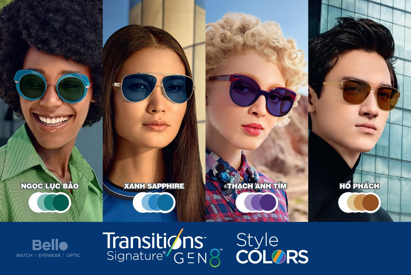 Tròng kính đổi màu Essilor Transitions Gen 8 Style Color Thạch Anh Tím, Ngọc Lục Bảo, Xanh Sapphire, Hổ Phách