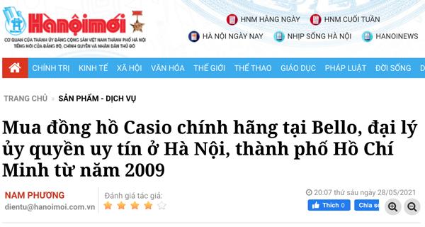 Mua đồng hồ Casio chính hãng tại Bello, đại lý ủy quyền uy tín ở Hà Nội, thành phố Hồ Chí Minh từ năm 2009