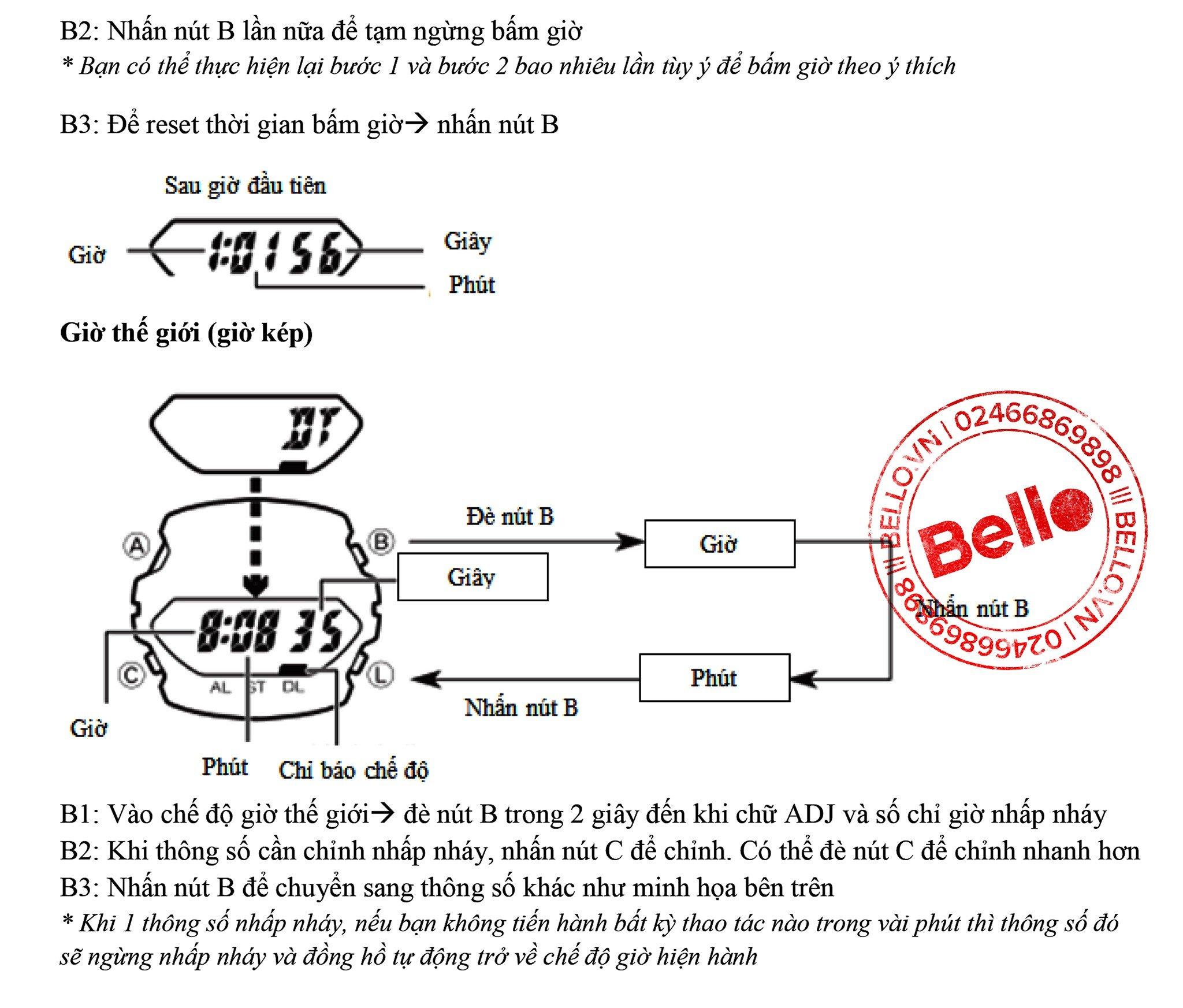 Hướng dẫn sử dụng đồng hồ Casio G-Shock G-100 Bello