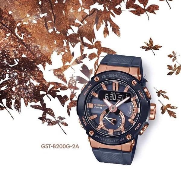 G-Steel Bluetooth Mặt Tròn Mạ Vàng đồng GST-B200G-2A - Rose Gold Carbon Core Guard