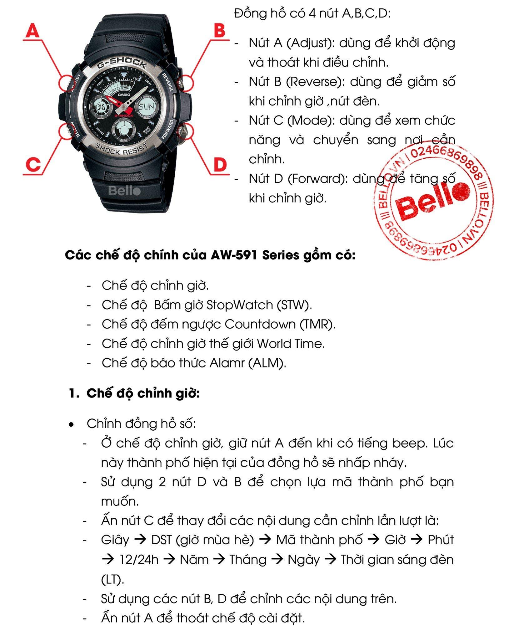 Hướng dẫn sử dụng đồng hồ Casio G-Shock AW-591 (Module 4778) -1