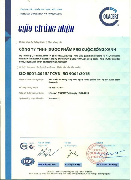 Chứng chỉ ISO, GMP, HACCP