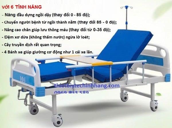 giường bệnh nhân 2 tay quay