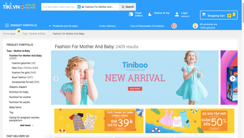 Tiniboo baby fashion launches New collections on Tiki.vn - best e-commerce site in Vietnam