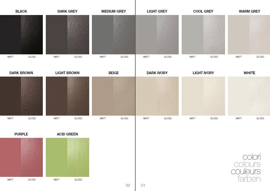 Bảng màu với 14 gam màu đa dạng trong bảng kiến trúc ốp lát