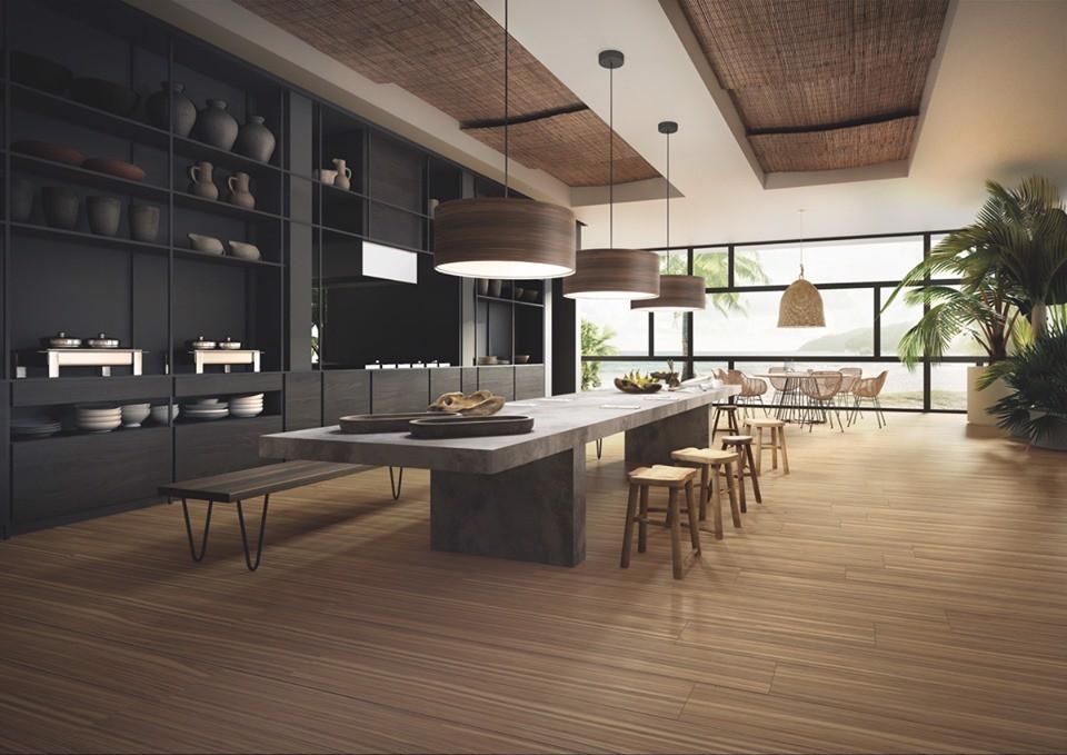 Gạch vân gỗ trang trí cho phòng bếp