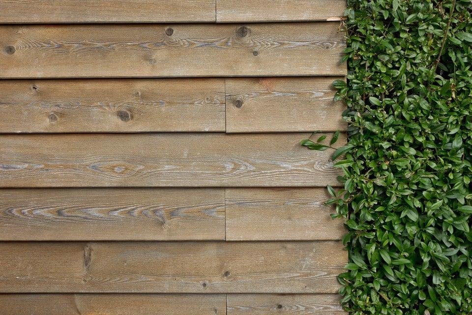Tường thiết kế với gạch vân gỗ
