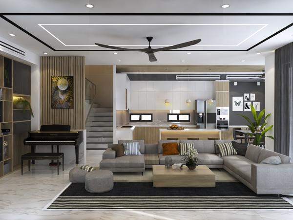 Thiết kế phòng khách cho nhà ống 4m