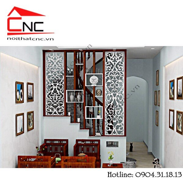 10 mẫu thiết kế vách ngăn cầu thang và phòng khách bằng gỗ giá rẻ.