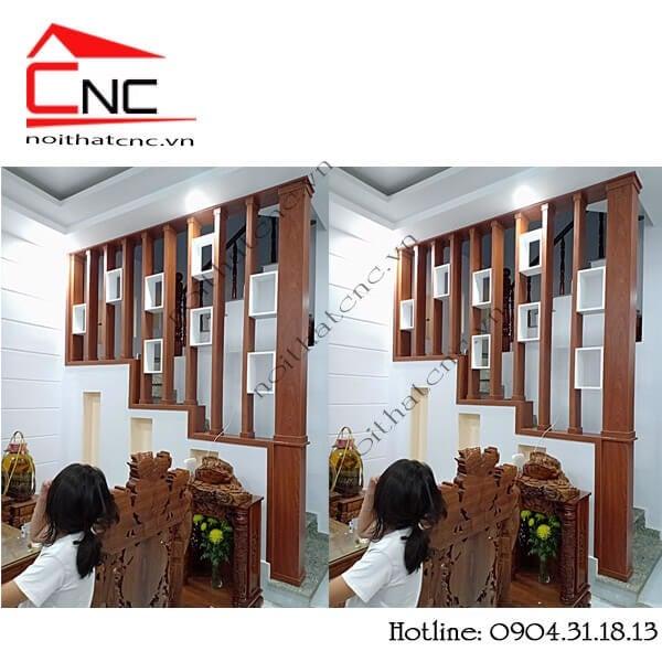Lam gỗ cầu thang trang trí, che chắn không gian nhà.