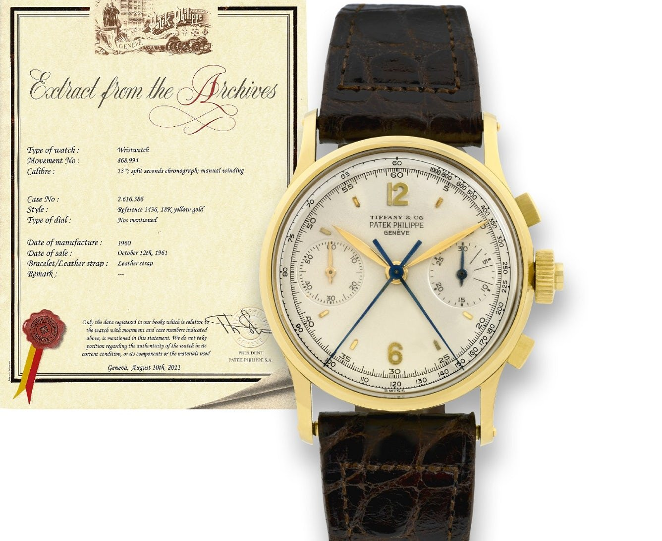 Rare Patek Philippe Sold by Tiffany in 1961