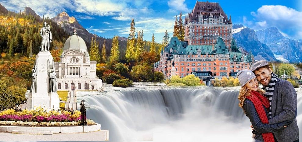Đằng sau 2 bạn nam nữ là hình ảnh thác Niagara trắng xoá, rừng lá phong xanh mát, toà nhà thị chính và các địa danh Canada