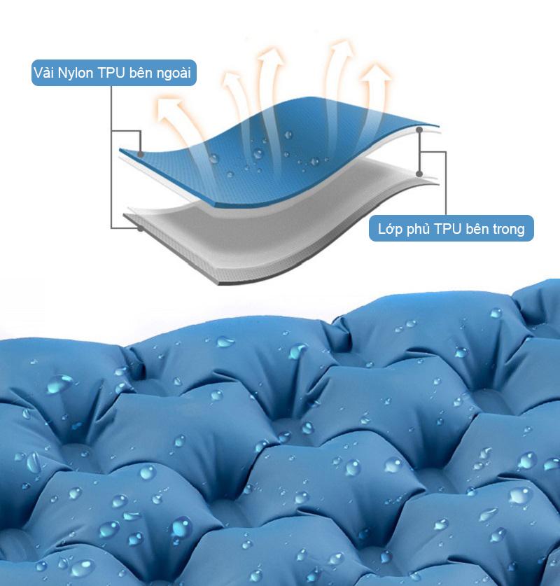 Chất liệu vải ngoài 40D Nylon TPU cao cấp, chống nước, đàn hồi