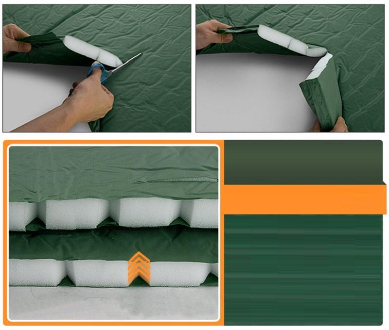 Dùng kéo cắt lớp vải ngoài 190T Polyester Taffeta tráng nhựa PVC, thấy lõi bọt biển xốp Bayer trắng tinh