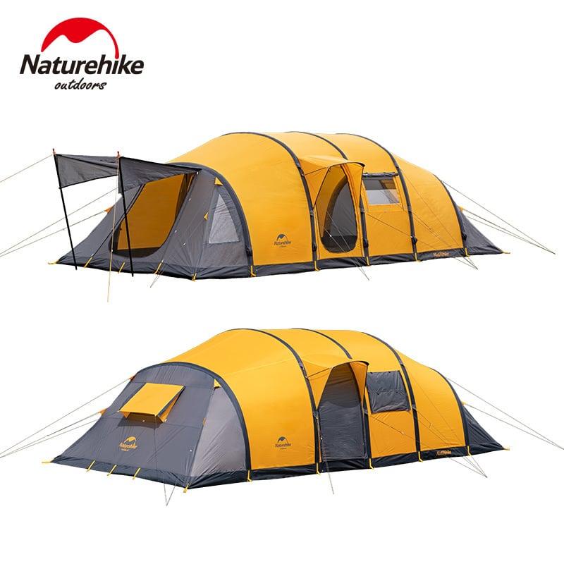 Lều cắm trại màu vàng xám rất lớn, có 3 cửa ra vào, phía trước có 1 mái che nhỏ
