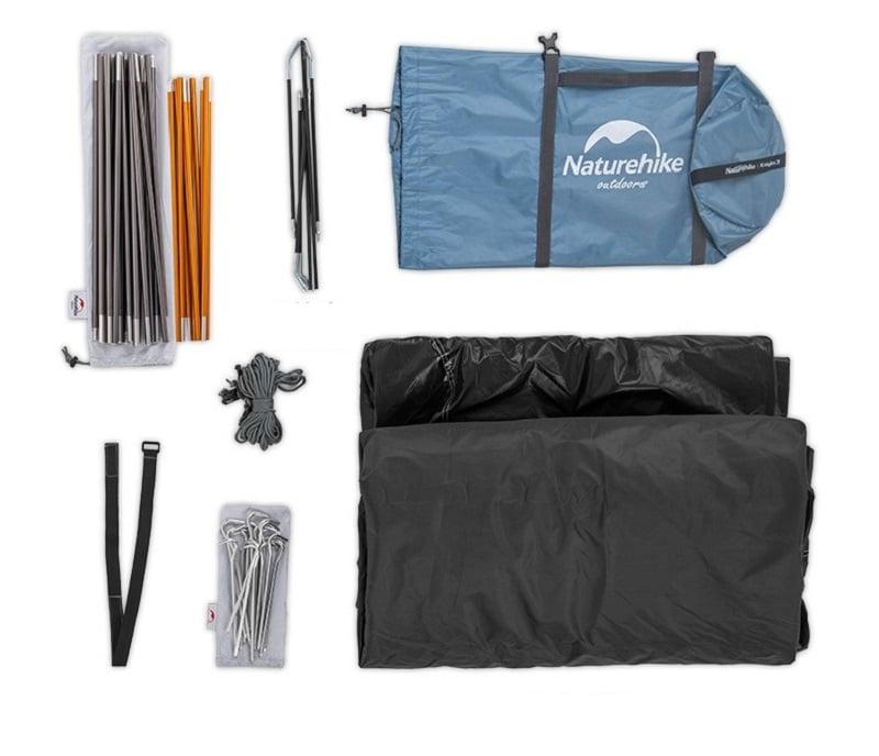 Bộ sản phẩm gồm lều, dây gió, khung, ghim, cọc, đai, túi đựng,...