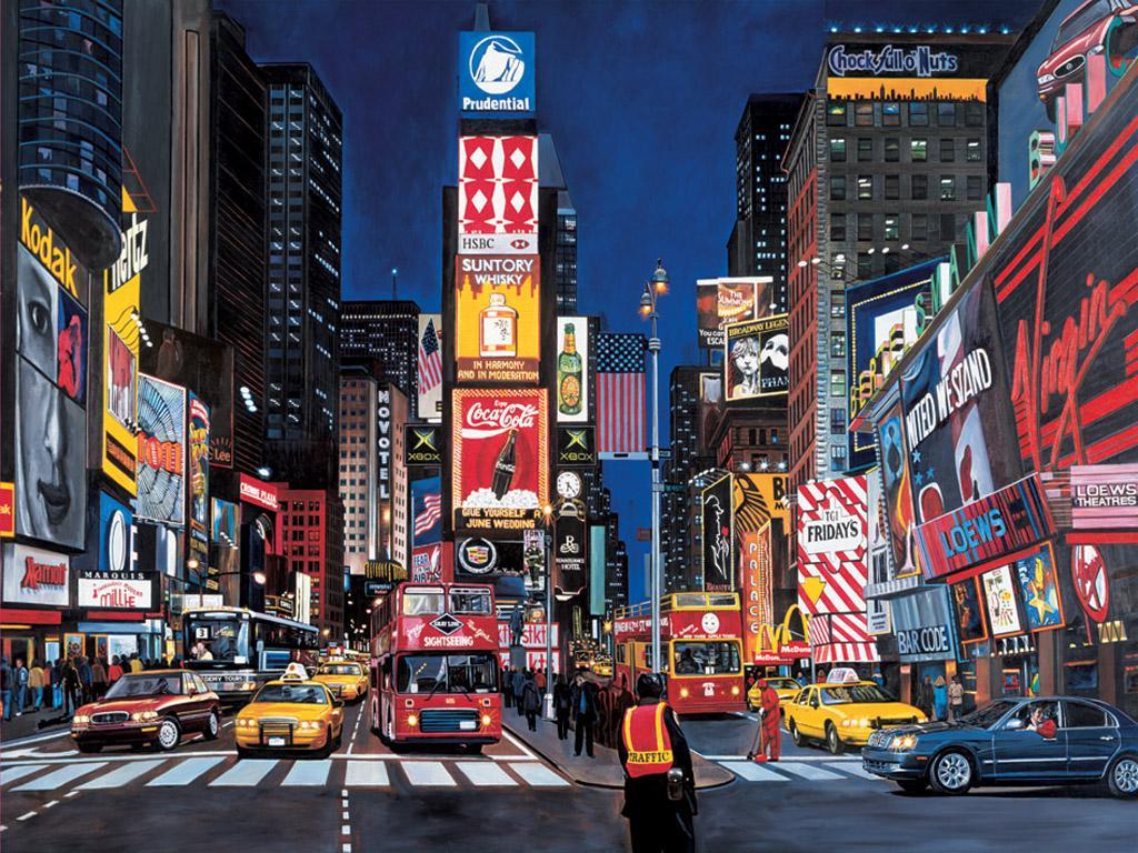 Quảng trường Thời Đại tấp nập người xe qua lại và rực rỡ ánh đèn màu của vô số biển hiệu quảng cáo