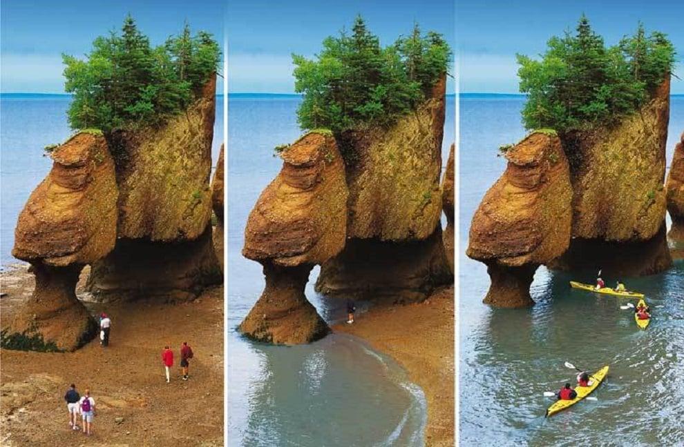 Sự thay đổi của vịnh Fundy từ lúc chưa có thuỷ triều đi bộ trên vũng đầm ngắm vách đá cao,đến khi thuỷ triều lên