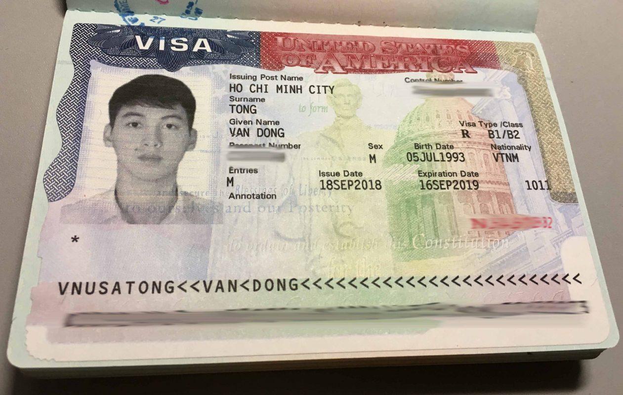 Visa du lịch Mỹ của 1 bạn nam trong Hồ Chí Minh