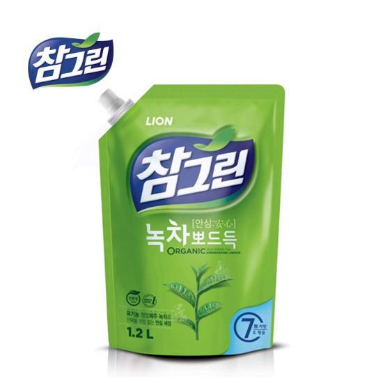 Nước Rửa Chén Cao Cấp Diệt Khuẩn Trà Xanh Lion 1,2L Hàn Quốc