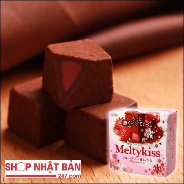 Chocolate Meiji Meltykiss Fruity strawberry vị Dâu tây 56gr