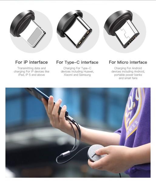 di động v24h Dây sạc rút Baseus Fabric 3-in-1 Flexible Cable tích hợp 3 đầu Type C / Micro USB/ Lightning 3.5A 1.2M (CAMLT-BYG1) ảnh 4