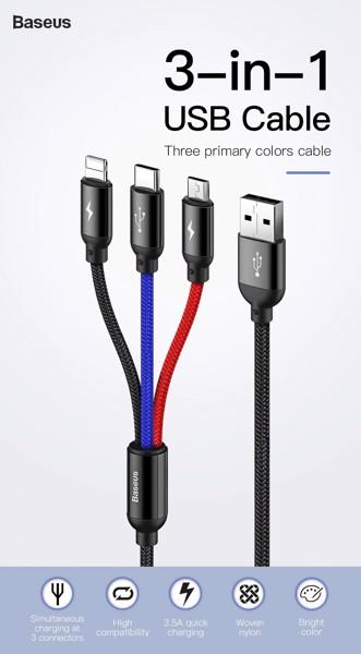 Dây sạc và truyền dữ liệu tốc độ cao Baseus Three Primary Colors tích hợp 3 đầu kết nối Type C, Micro USB , Lightning CAMLT ảnh 3