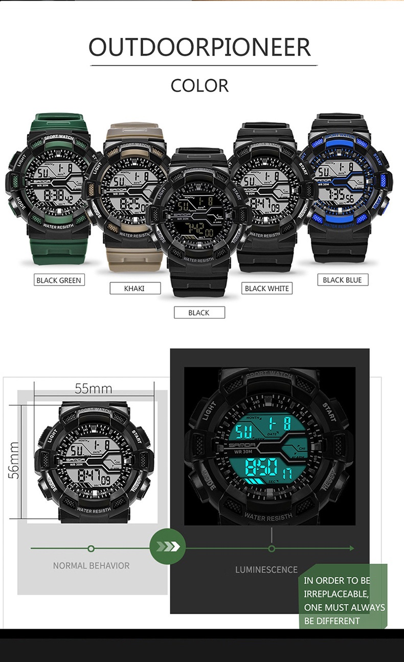 sanda watch 378 digital men sport watch