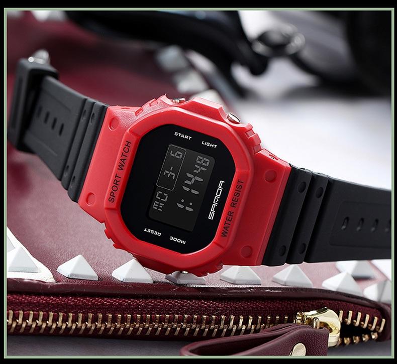 đồng hồ nam nữ chống nước sport watch mặt vuông