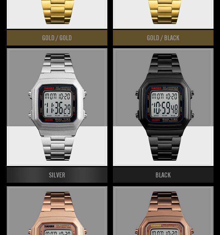 đồng hồ skmei điện tử classic dây kim loại skmei 1337
