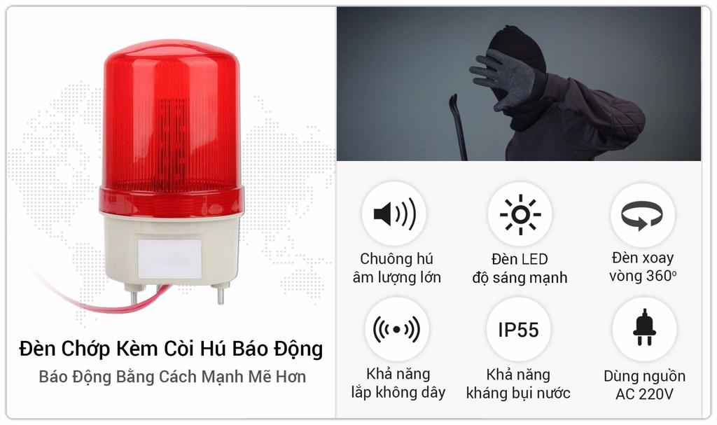 Đèn Chớp Xoay Kèm Còi Hú Báo Động Âm Lượng Lớn SmartZ JH05