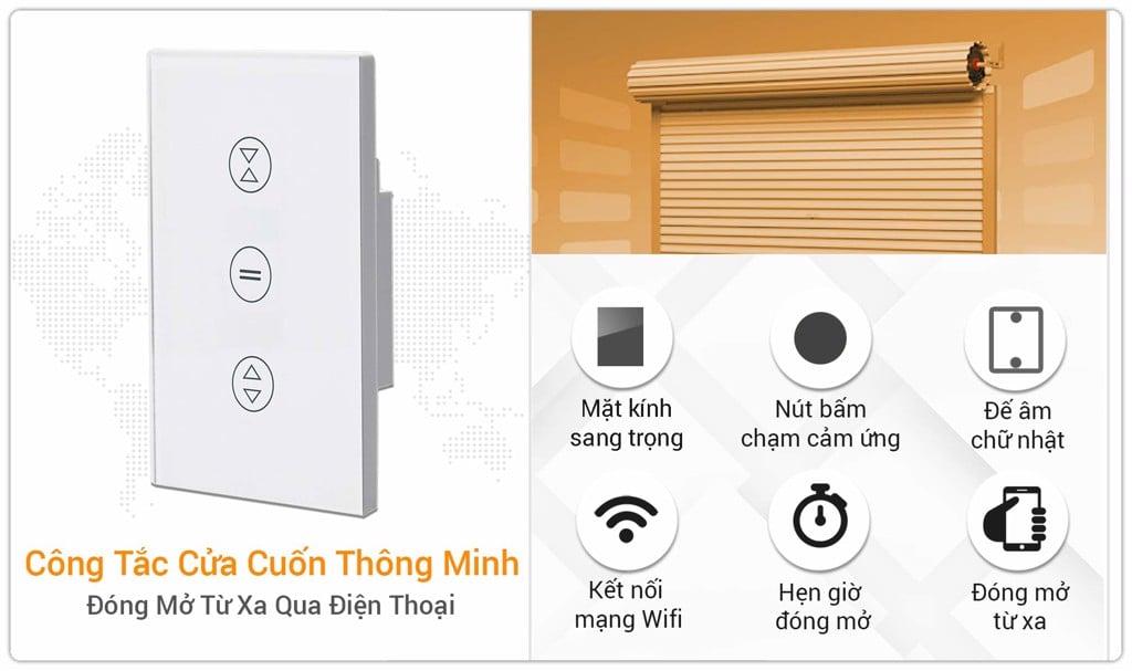 Công Tắc Điều Khiển Cửa Cuốn Thông Minh Wifi SmartZ WSD