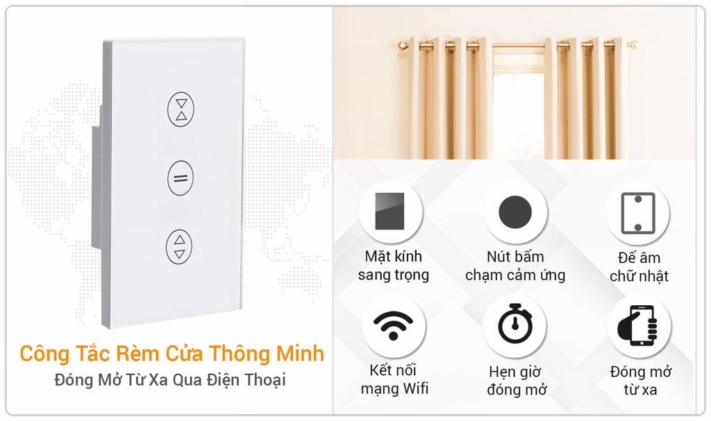 Công Tắc Rèm Cửa Thông Minh Wifi SmartZ Mặt Kính Cảm Ứng
