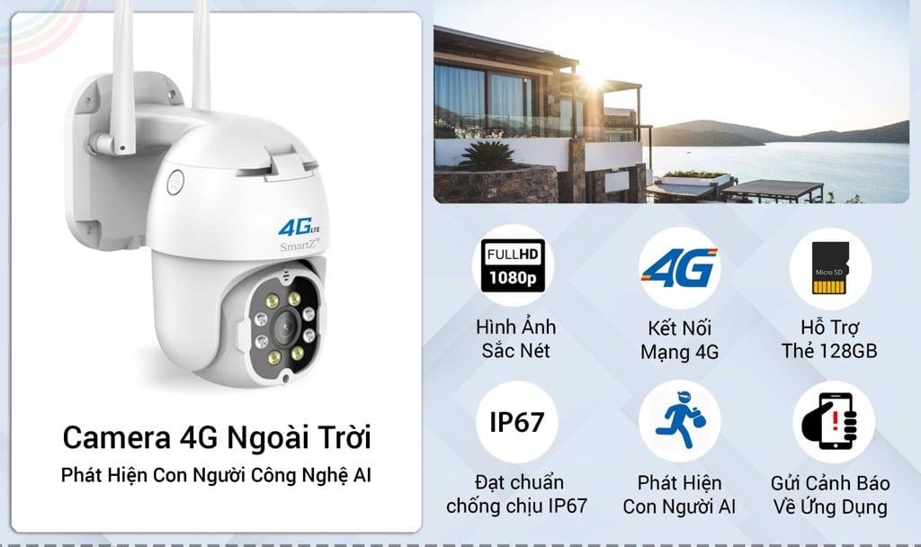Camera 4G Ngoài Trời SmartZ IS11.4G Phát Hiện Con Người Thông Minh