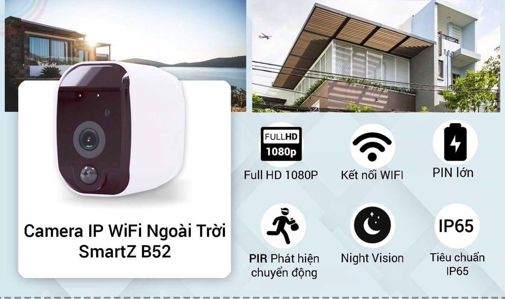 Camera IP WIFI Dùng Pin Ngoài Trời SmartZ B52 - Full HD 1080P
