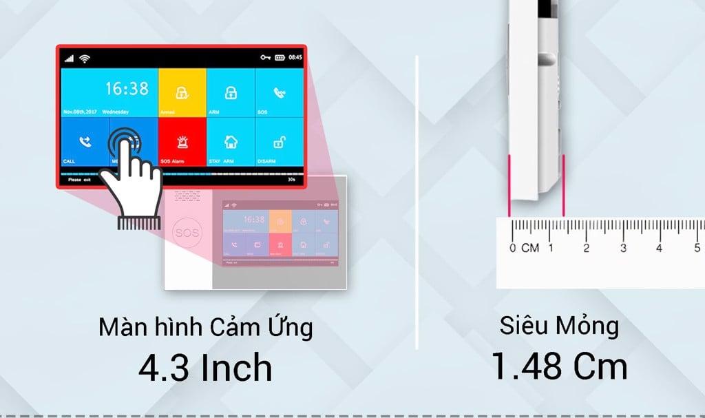 Bộ báo trộm SmartZ GW05 cao cấp với màn hình cảm ứng 4.3 inch và siêu mỏng chỉ 1.48cm