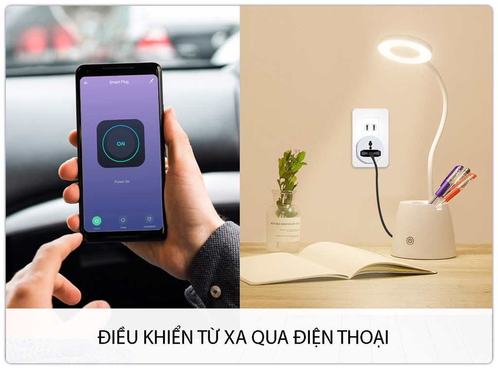 Ổ cắm điện thông minh wifi WS100 điều khiển từ xa