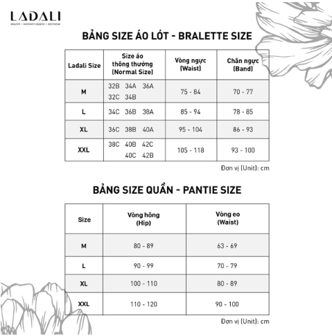 Bảng size bộ đồ lót Ladali