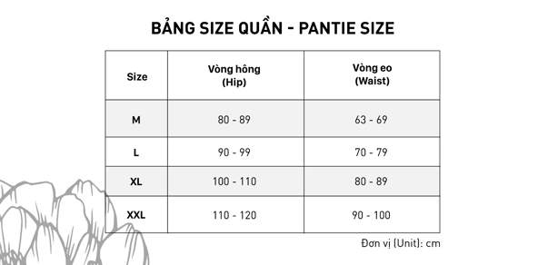 Bảng size quần lót chuẩn Ladali