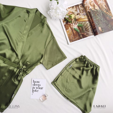 Bộ Ngủ Pijama Ngắn Tay Ladali Màu Xanh BN18