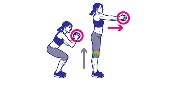 Plie Squat Forward Dumbbell Press