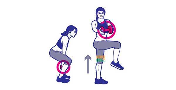 Squat with Knee Raise and Twist