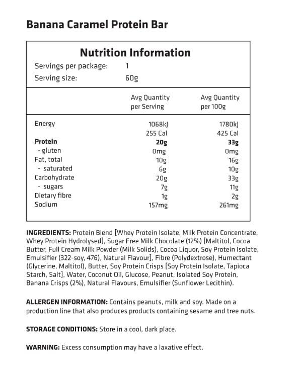Empower Natural Protein Bar 60g facts