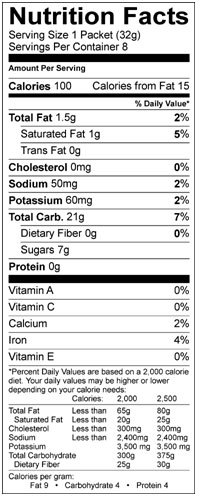 energy gel chocolate outrage nutrition facts