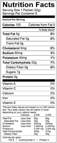 energy gel vanilla bean nutrition facts
