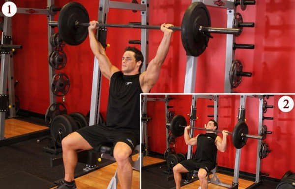 giao an tap gym cho nam 6 buoi 1 tuan Barbell Shoulder Press