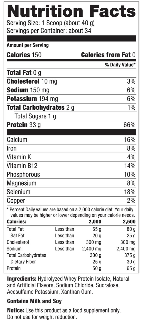 nutritional facts hydrocool chocolate