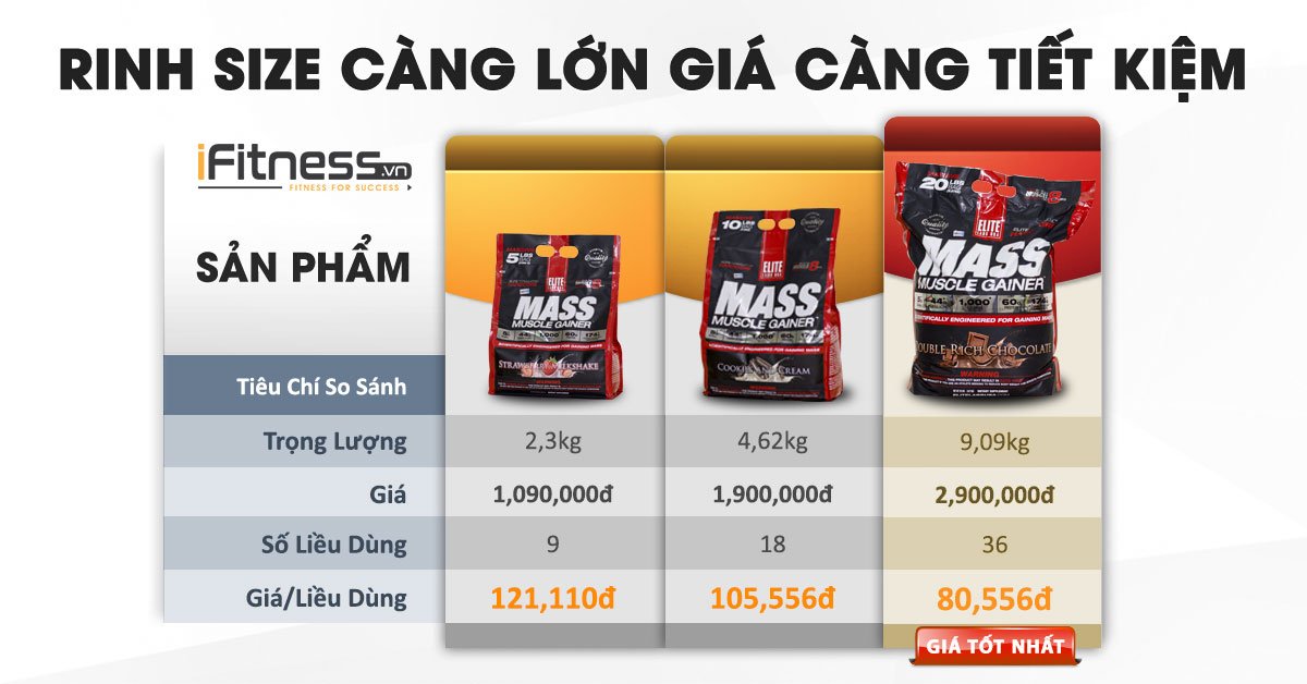 size mass muscle gainer