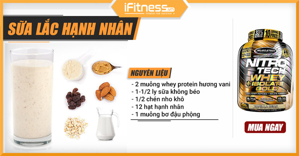 cach pha sua lac whey protein hanh nhan