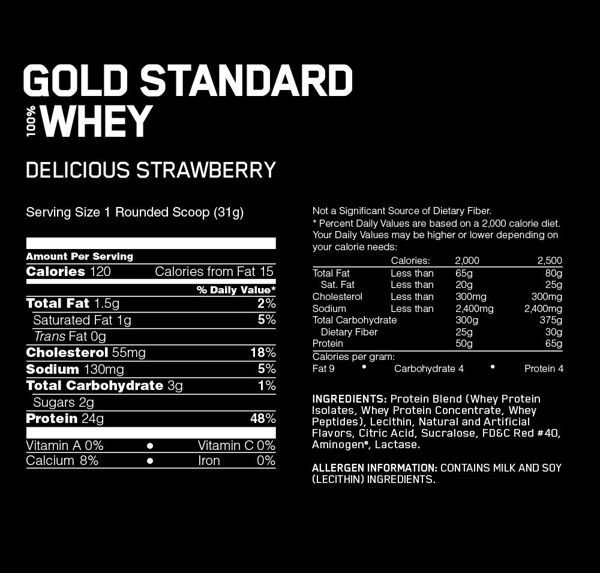 Gold Standard 100% Whey, Delicious Strawberry